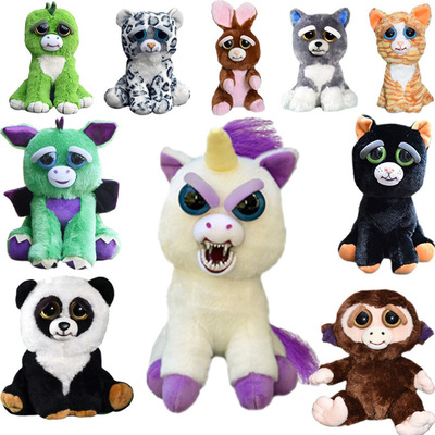 Feisty Pets Change Face Plush Toys With Funny Expression Stuffed Animal Doll For Kids Cute Prank toy Christmas feisty pet Gift